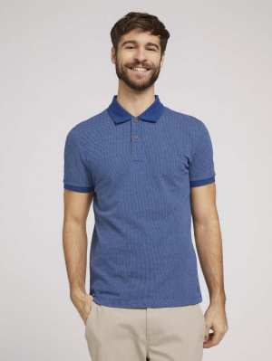 smart polo with tipp, after dark blue, L