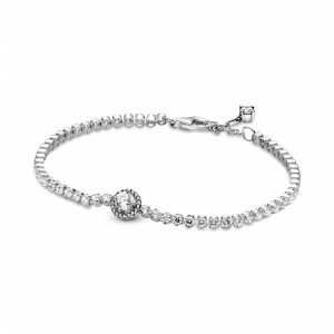 Sterling silver bracelet with clear cubic zirconia