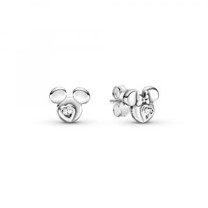 Disney Mickey and Minnie sterling silver stud earrings with clear cubic zirconia