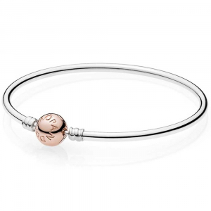 Silver bangle with PANDORA Rose clasp