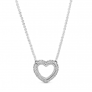 Snake chain pattern heart sterling silver collier with clear cubic zirconia