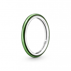 Sterling silver ring with transparent green enamel