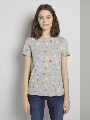 T-Shirt printed cr, grey fruit design, M