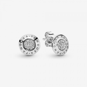 PANDORA logo silver stud earrings with cubic zirconia