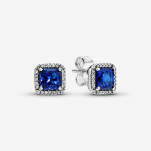 Silver stud earrings with true blue crystal and clear cubic zirconia