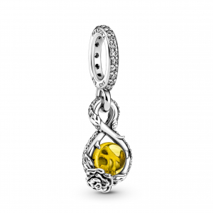 Disney Belle infinity and rose sterling silver pendant with sulphur yellow crystal and clear cubic zirconia