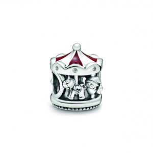 Carousel sterling silver charm with clear cubic zirconia, red and white enamel