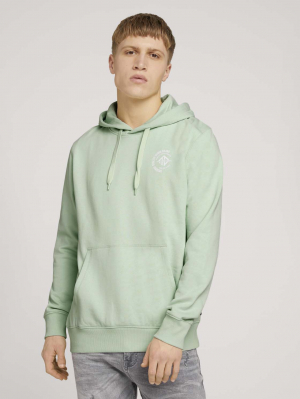 Hoody w. chest print, smooth green, M