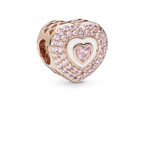Heart Pandora Rose charm with rose pink crystal, orchid pink crystal and white enamel