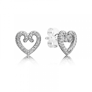 Heart silver stud earrings with clear cubic zirconia