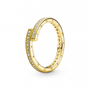 Pandora logo 14k gold-plated ring with clear cubic zirconia