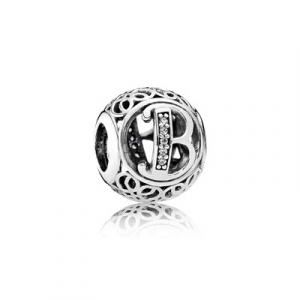 Letter B silver charm with clear cubic zirconia