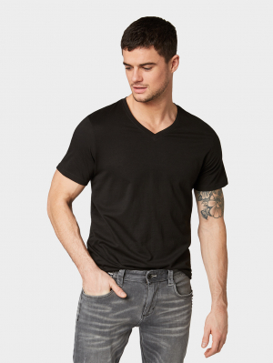 double pack v- neck tee, Black, L