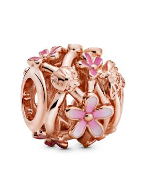 Daisy Pandora Rose charm with shaded pink enamel