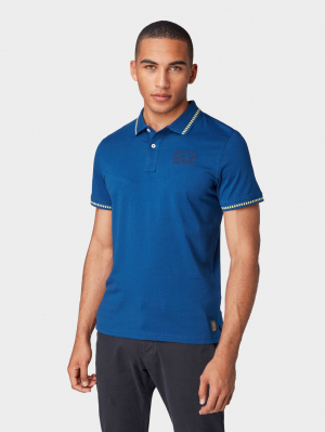 polo with contrast d, after dark blue, L