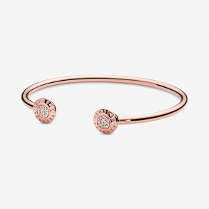PANDORA Rose logo open bangle with clear cubic zirconia