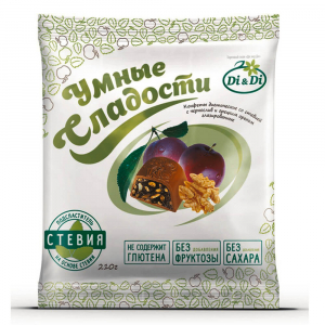 Конфеты «Умные сладости» чернослив с грецким орехом в шоколадной глазури 210г,