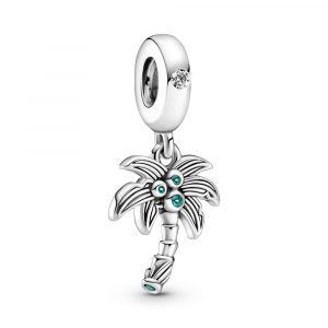 Palm tree sterling silver dangle with clear cubic zirconia, lake green and royal green crystal