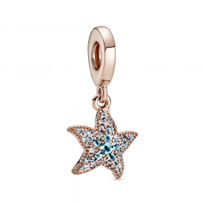 Starfish Pandora Rose dangle with icy blue and ice green crystal