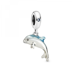 Dolphin sterling silver dangle with icy green crystal and blue enamel