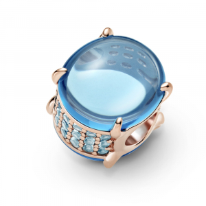 Pandora Rose charm with icy blue and water blue crystal