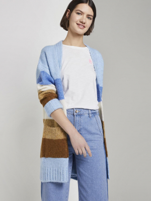 cosy cardigan, blue brown stripe, S