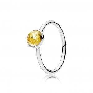 November birthstone silver ring with citrine, 6 mm