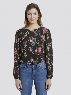 printed blouse bo, black flower print, M