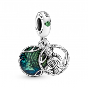 Star Wars Yoda sterling silver dangle with green crystal and transparent green enamel