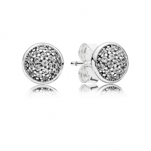 Silver stud earrings with clear cubic zirconia, 6 mm