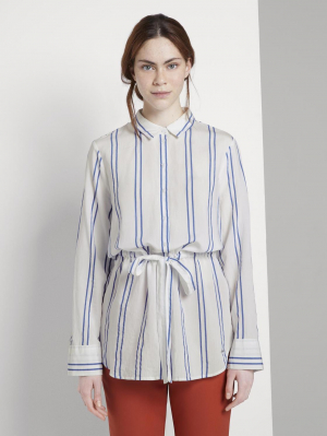 long blouse with w, white blue stripe, S