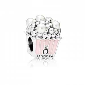 Popcorn silver charm with white crystal pearl and pink enamel