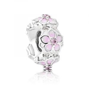 Magnolia silver spacer with pink cubic zirconia, white and shaded pink enamel