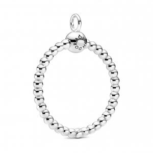 Medium beaded sterling silver Pandora O pendant