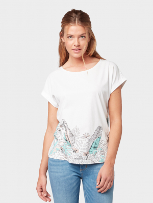 T-shirt with bottom pr, Whisper White, S