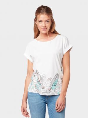 T-shirt with bottom pr, Whisper White, S
