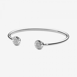 PANDORA logo silver open bangle with clear cubic zirconia