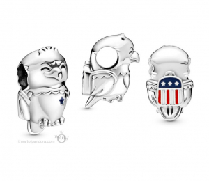 American bald eagle sterling silver charm with white, red and blue enamel