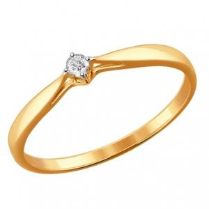 101 - Кольца с бриллиантом Н 1011497 золото 585°