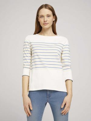 striped tee, blue creme yellow stripe, L