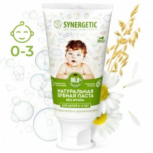Synergetic детская зубная паста Липа и ромашка, от 0 до 3 лет, 50гр.