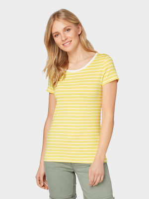 T-shirt striped, yellow stripe, S