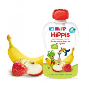 Пюре HiPP из клубник с яблоками и бананами 100 гр