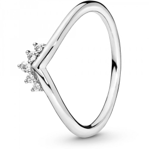 Tiara wishbone sterling silver ring with clear cubic zirconia