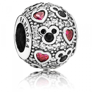 Disney abstract pave silver charm with black crystal, clear and red cubic zirconia