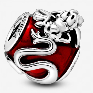 Disney Mulan dragon sterling silver charm with transparent red enamel