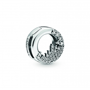 Sterling silver clip with clear cubic zirconia