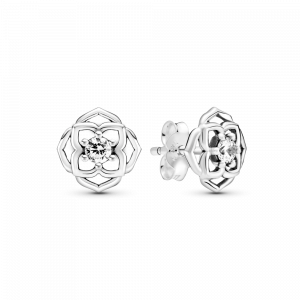 Rose flower sterling silver stud earrings with clear cubic zirconia