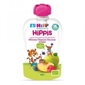 Пюре HiPP из лесных ягод, яблок и персиков 100 гр