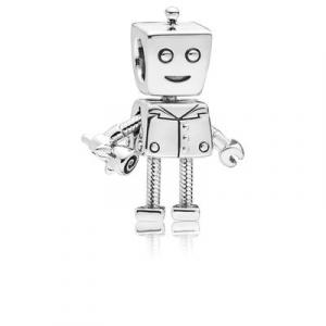 Boy robot silver charm